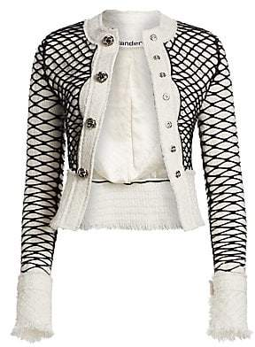 Alexander Wang Women's Tweed Fishnet Frayed-Edge Jacket