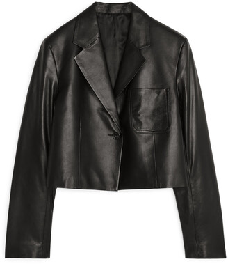 Arket Cropped Leather Blazer