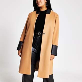 River Island Womens Plus Beige blocked longline coat