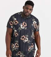 Burton Menswear Big & Tall t-shirt with floral print in black