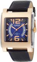 K & Bros Men's 9520-2 Ice-Time Square Rose Gold-tone Leather Watch