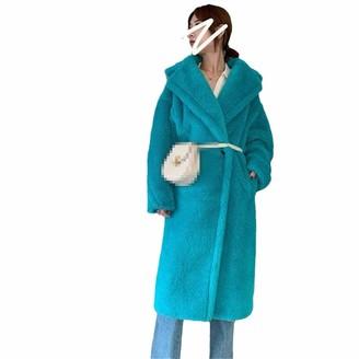 NKJGFV Women Winter Faux Fur Warm Long Coat Long Sleeve Thick Teddy Bear Coat Casual Loose Oversize Outwears Lake Blue XS