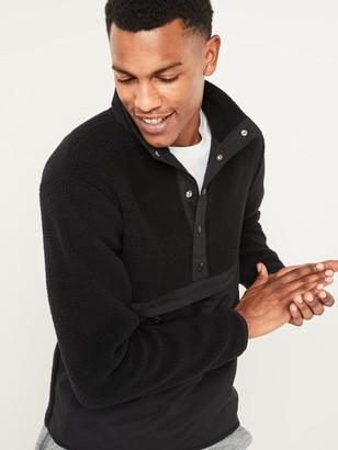 Old Navy Sherpa Mock-Neck Henley Sweatshirt for Men