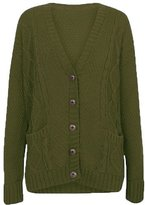 Fashipap Womens Ladies Cable Chunky Knitted 5 Button Long Sleeves Grandad Cardigans S/M (US 4-6)