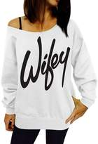 Bling Stars Women's Wifey Shirt Letter Print Off the Shoulder Slouchy Pullovers