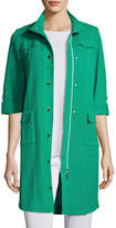 Misook Stand-Collar Utility Jacket w/ Gold Snaps, Plus Size