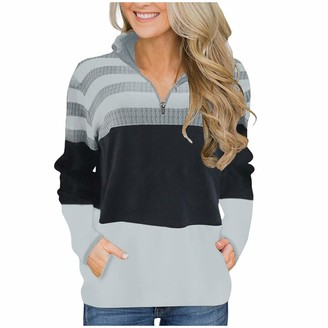 Canifon Sweater Canifon Women's T-Shirts Casual Jumpers Pullover Christmas Round Neck Knit Stitching Sweatshirts Long Sleeve Tops Gray