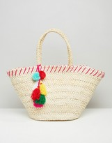 South Beach Straw Beach Bag With Pom Pom Detail