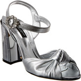 Dolce & Gabbana Metallic Leather Mirrored Heel Sandal