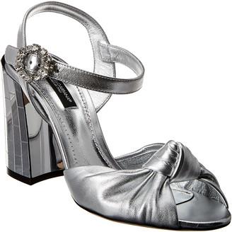 Dolce & Gabbana Metallic Leather Mirrored Heel Sandal