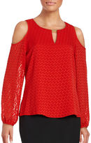 Calvin Klein Crewneck Cold-Shoulder Peasant Top