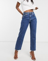 Asos Design DESIGN High rise stretch 'slim' straight leg jeans in mid vintage wash