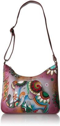 Anuschka Women's Anna Handpainted Leather Medium Hobo Shoulder Handbag