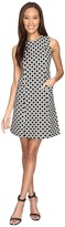 Donna Morgan Sleeveless Seamed Woven Dot Jacquard Fit and Flare with Pockets Women's Dress