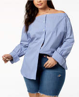 Tommy Hilfiger Plus Size Striped Off-The-Shoulder Shirt, Created for Macy's