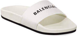 Balenciaga Logo Leather Pool Slides, White