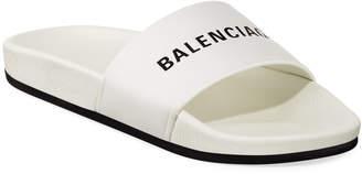 Balenciaga Logo Leather Pool Slides, White