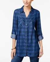 Style&Co. Style & Co Style & Co Petite Plaid Denim Tunic Shirt, Created for Macy's
