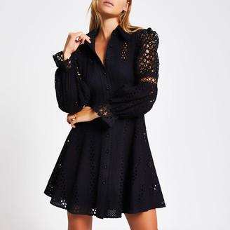River Island Womens Black broderie long sleeve mini dress