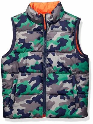 Spotted Zebra Boys' Little Kids Reversible Puffer Vest