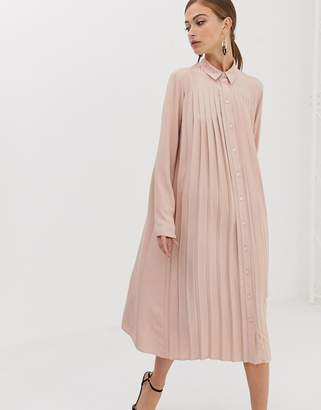 Asos Design DESIGN pleated midi shirt dress-Pink