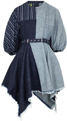 Marques Almeida Patchwork Belted Denim Mini Dress