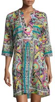 Etro Paisley Floral 3/4-Sleeve Tunic Coverup, Multi