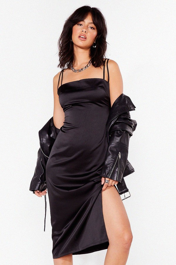 Nasty Gal Womens Slit's Our Moment Satin Midi Dress - Black - 8