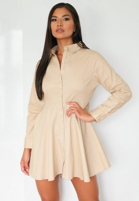 Missguided Sand Pearl Button Shirt Dress