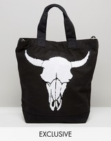 Reclaimed Vintage Tote With Large Skull Patch
