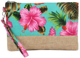 Riah Fashion Tropical-Print Wristlet-Cosmetic-Pouch