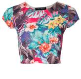 Select Fashion Fashion Womens Pink Tropical Floral Crop - size 12