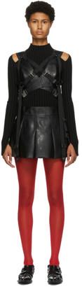 Junya Watanabe Black Faux-Leather Pleated Suspender Skirt
