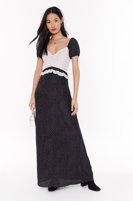 Nasty Gal Womens Polka Dot Gonna Happen Contrast Maxi Dress - black - 6