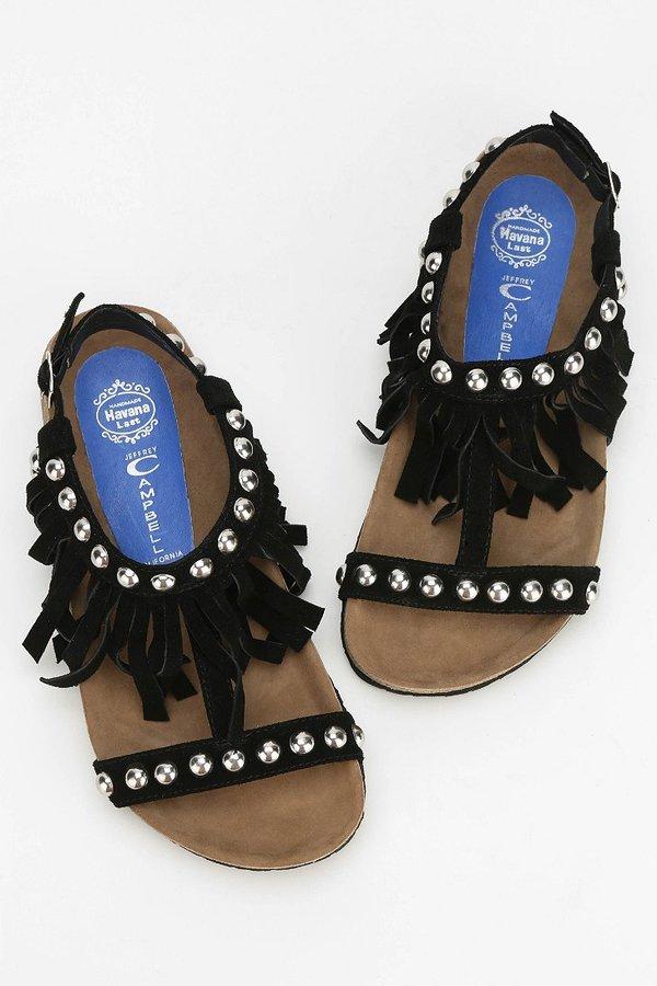 Jeffrey Campbell Reus Fringe T-Strap Sandal