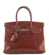Hermes Honey Miel Matte Crocodile Palladium HW 30cm Birkin Handbag In Box