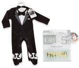 Baby Aspen Infant Boy's My First Tuxedo Footie & Milestone Blocks Set