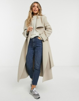 ASOS DESIGN Scuba waterfall skater coat in mink