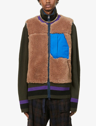Sacai Striped-trim colour-blocked wool and fleece jacket