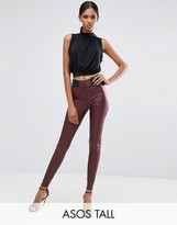 ASOS Tall ASOS TALL Leather Look Leggings with Elastic Slim Waist