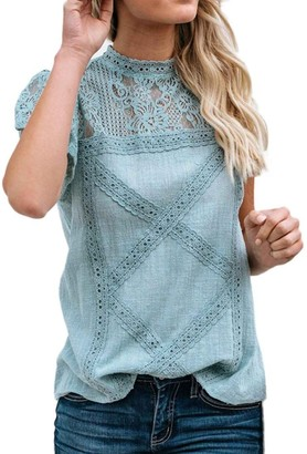 KaloryWee Tops Ladies Womens Lace Patchwork Flare Ruffles Short Sleeve Cute Floral Shirt Blouse GN/M Green