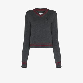 Maison Margiela Contrast Stripe Distressed Sweater