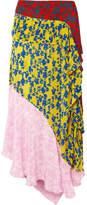 Preen Line Isabelle Asymmetric Paneled Crepe De Chine Midi Skirt - Pink