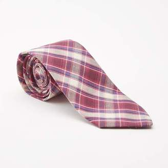 Blade + Blue Burgundy Plaid Cotton Tie