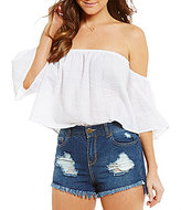 GB Off-The-Shoulder Crinkled Woven Crop Top