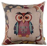 "LINKWELL 18"" x 18"" inches Forest Cute Owl Design for Kid Room Decor Burlap Pillowcase Cushion Cover"