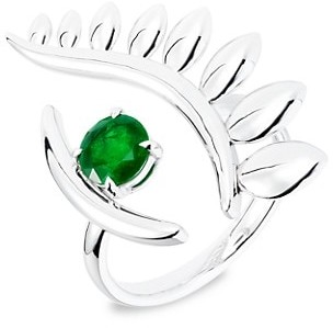 Tabayer The Third Eye 18K White Gold & Emerald The Look Ring
