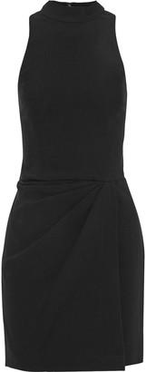 Halston Pleated Crepe Mini Dress
