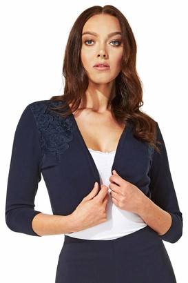 Roman Originals Women Plain Bolero Shrug - Ladies 3/4 Length Sleeve Lightweight Knitwear Smart Casual Workwear Office Cover Up Cardigan Cardie - Navy - Size 18