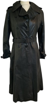 Harrods Black Leather Coat for Women Vintage